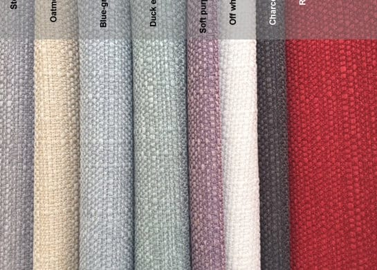 Linen look range - steel / oatmeal / blue-grey / duck egg / viola / white / charcoal / red