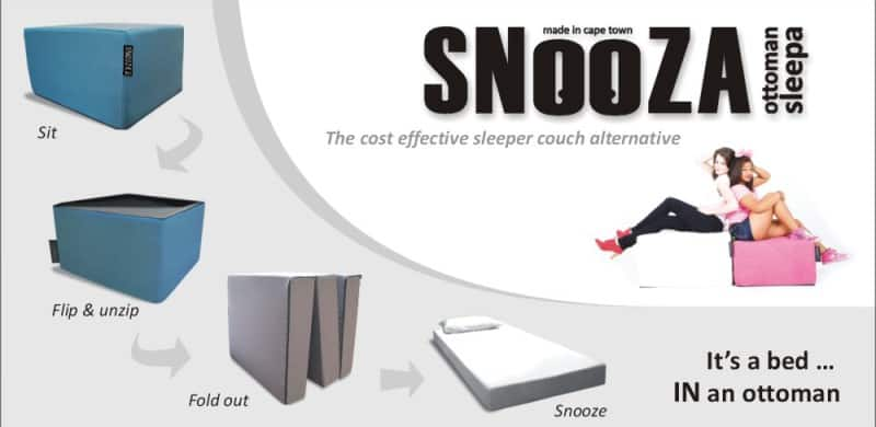Image of Snooza - describing the folding mattress and guest bed